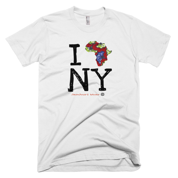 I Africa N.Y New York white Ankara TEE BY JAMHURI WEAR