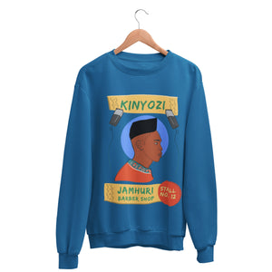 Kinyozi Box Cut Barber shop crewneck on hanger