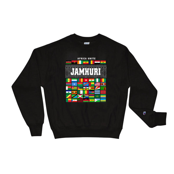 Africa Unite Flags Limited Edition Champion Brand Black Crewneck