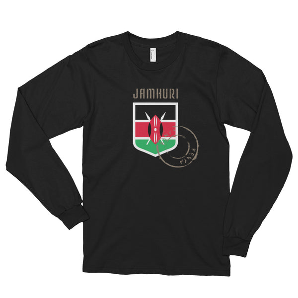 Kenya Badge of Honor Mens Long sleeve t-shirt. - jamhuriwear.com