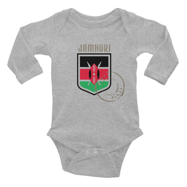 Baby Toto Kenya Badge of honor L/Sleeve Bodysuit - jamhuriwear.com