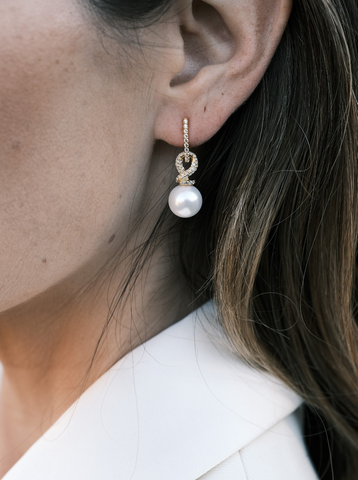 GOLD PEAR WHITE SAPPHIRE CHARM EARRINGS