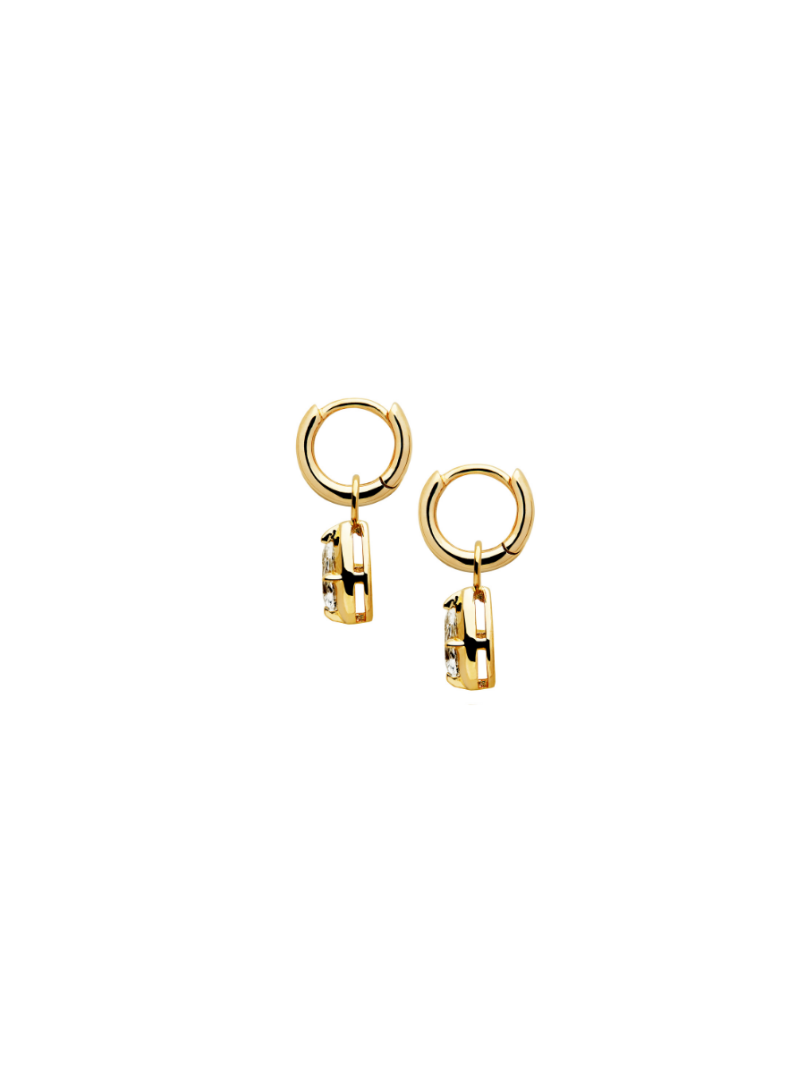 GOLD MARQUISE SAPPHIRE CHARM EARRINGS