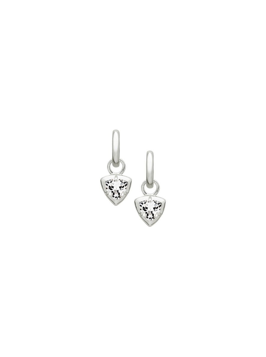 SILVER TRILLION WHITE SAPPHIRE CHARM EARRINGS