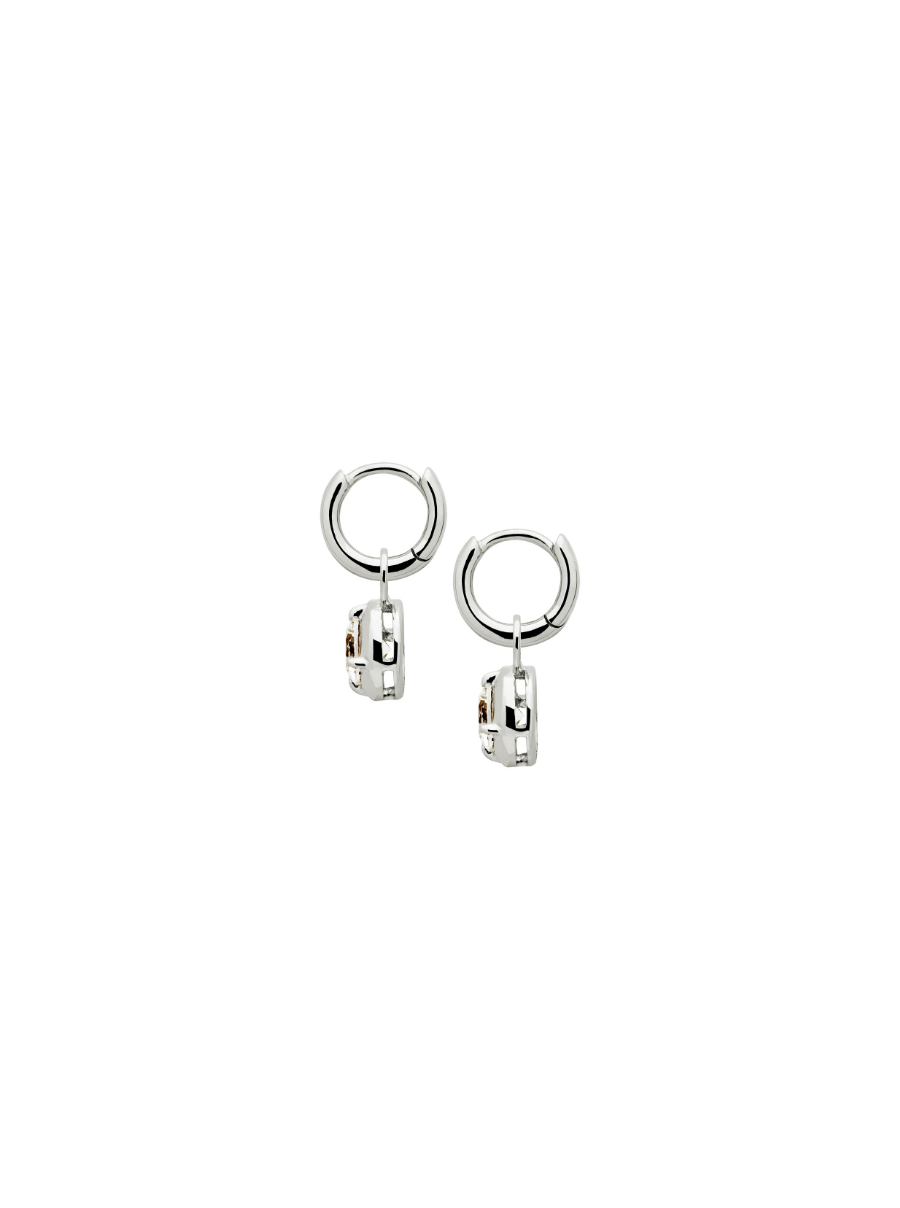 SILVER ROUND WHITE SAPPHIRE CHARM EARRINGS