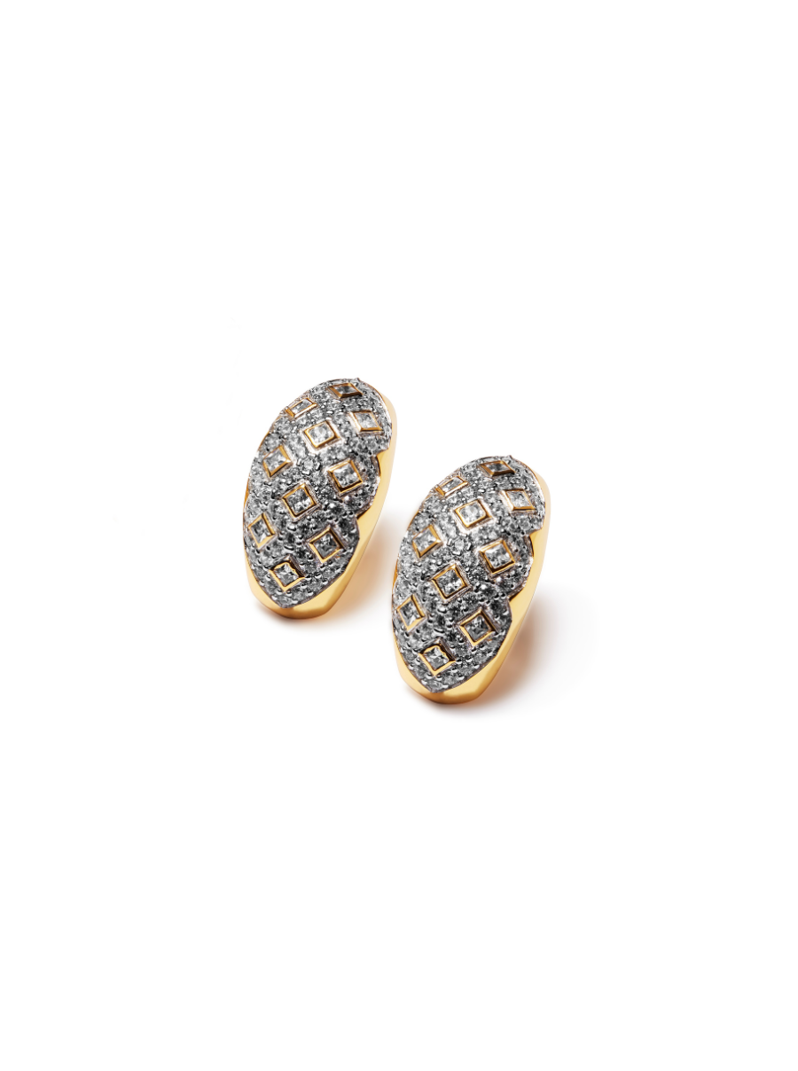 Length: 1 inch, post back earring  Metal: Silver plated brass  Stone: Pave Swarovski crystals