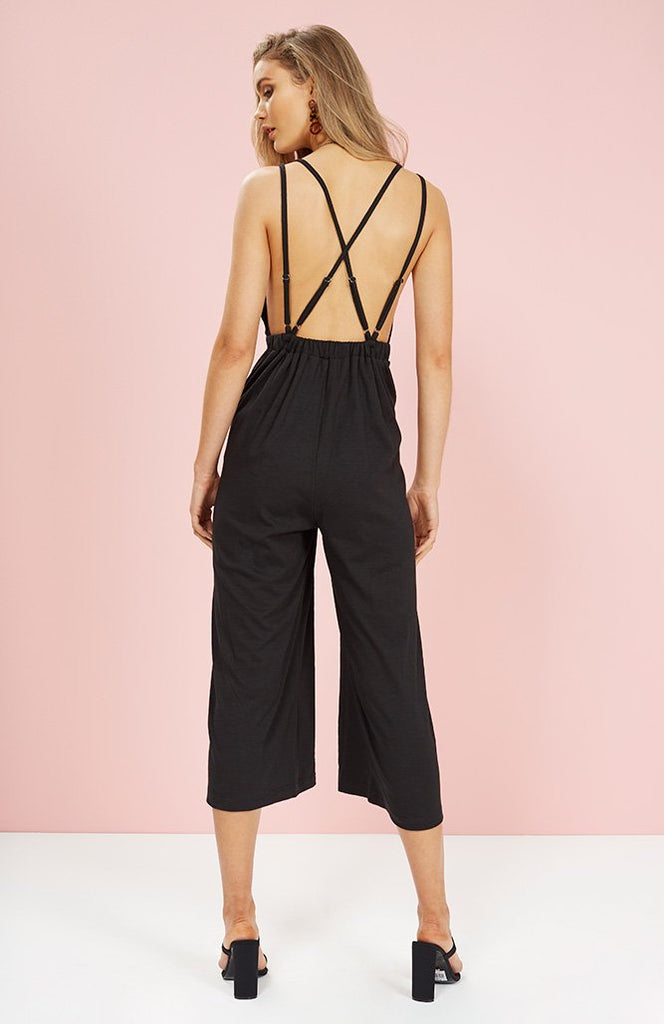 CVC Plunge Jumpsuit Black