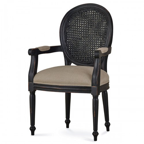 Tulip Rattan Back Dining Arm Chair W/O Fluted Leg