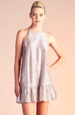 NYE Shimmer Rose Gold Dress