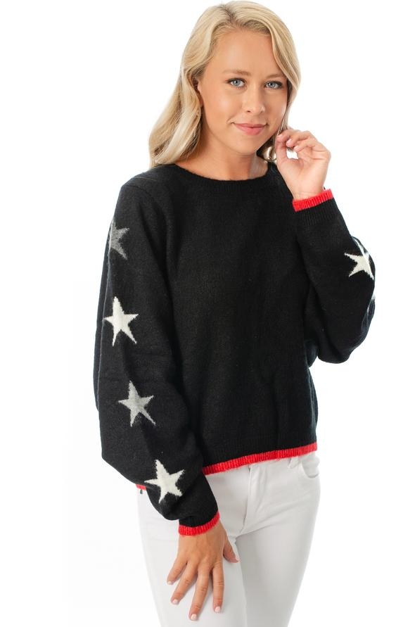 Black Star Knit Dolman Sweater