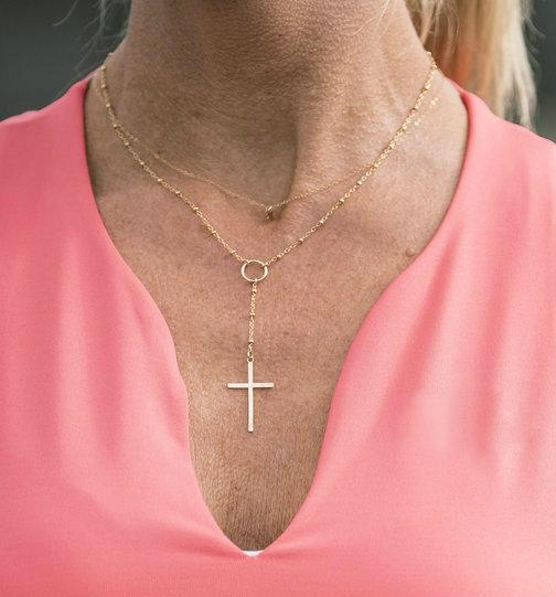 Grace Simplicity Cross Drop Necklace