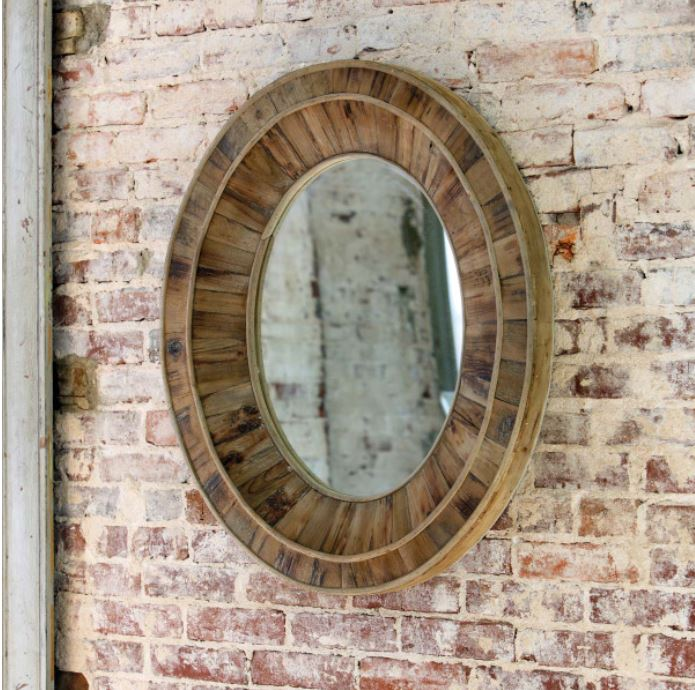 Primitive Wooden Oval Mirror