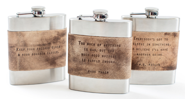 Leather Quote Metal Flask