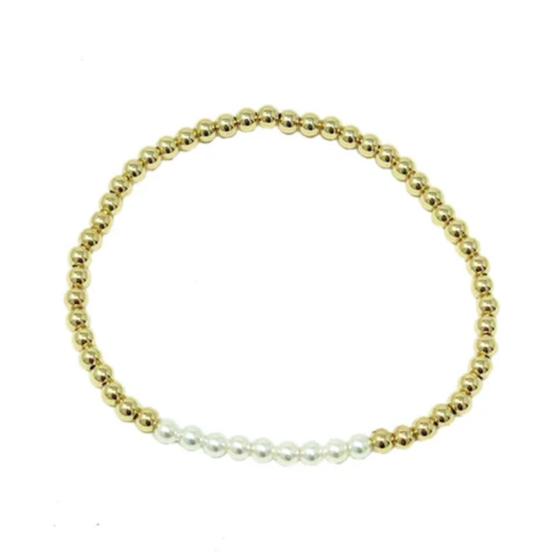 egirl Beaded Bliss 3mm Bead Bracelet Gold