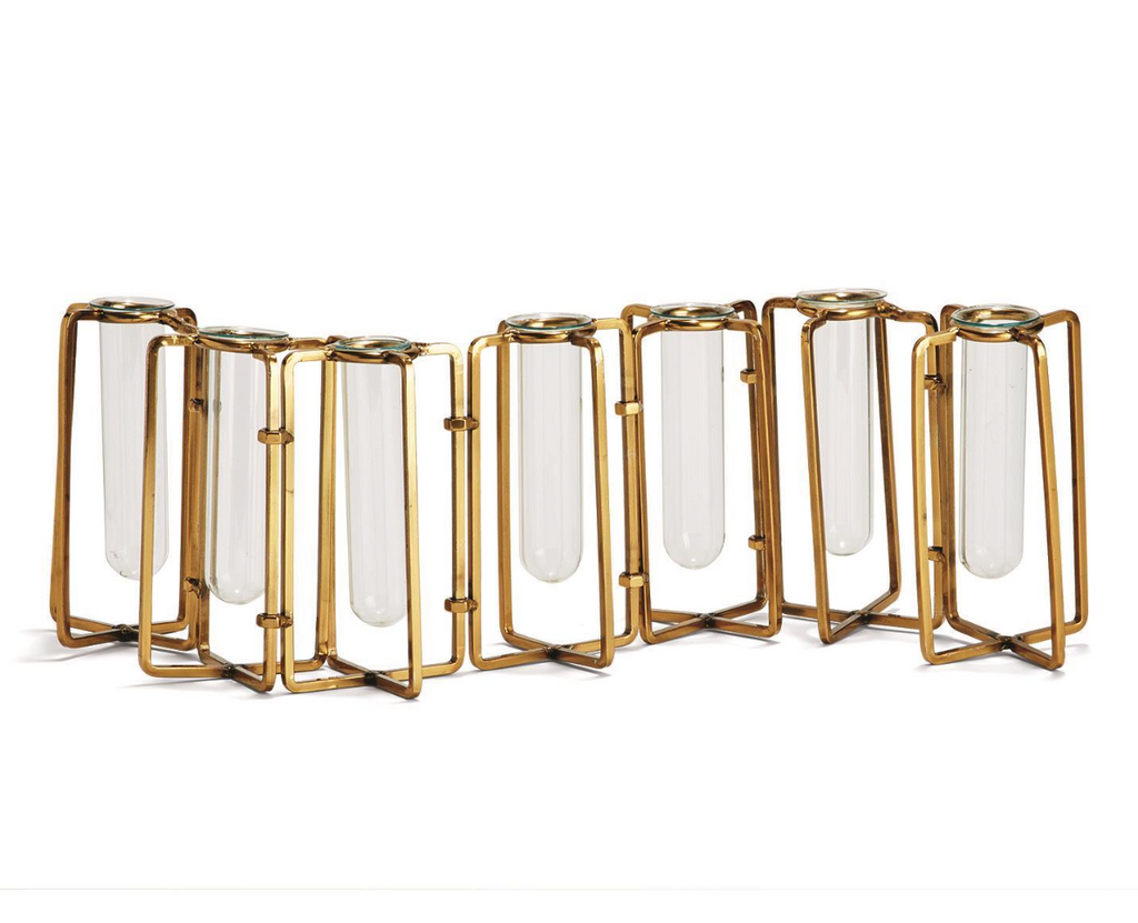 Lavoisier Set of 7 Gold Plate Stainless Steel/Glass