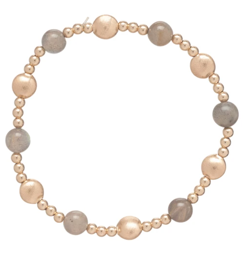 Honesty Gold Sincerity Pattern 6mm Bead Bracelet - Gemstone