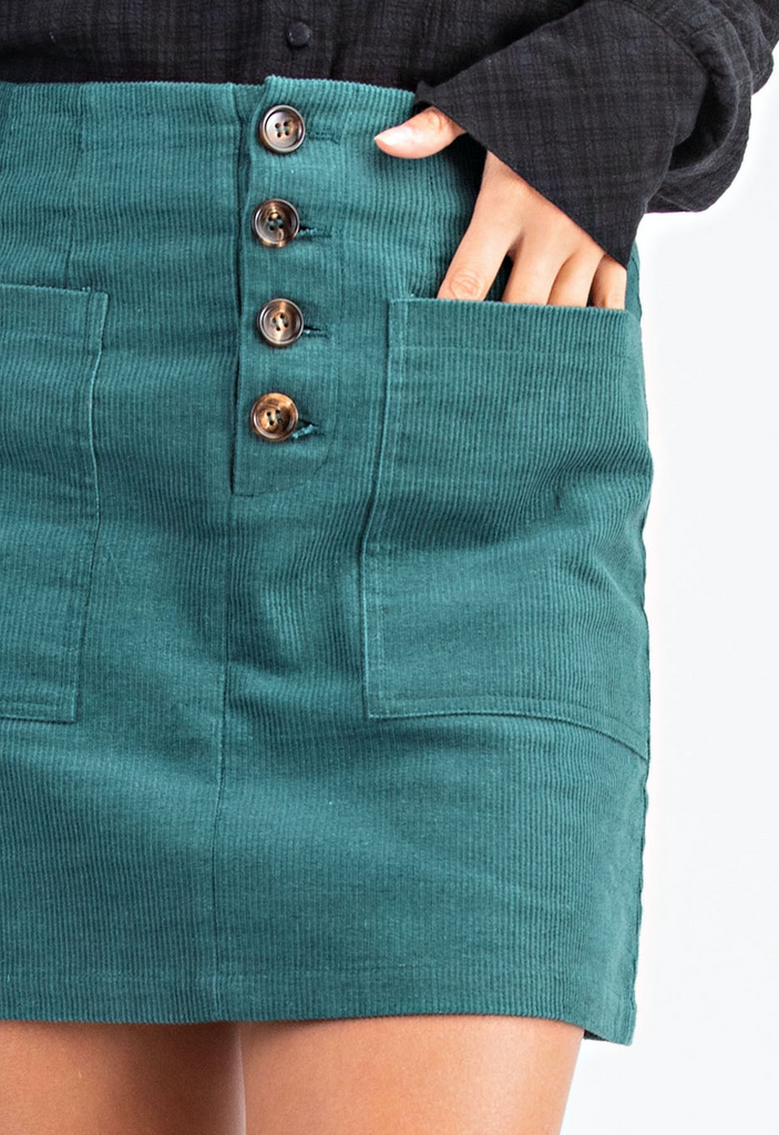 Corduroy Mini Button Front Skirt
