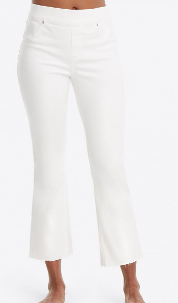 Cropped Flare White Denim