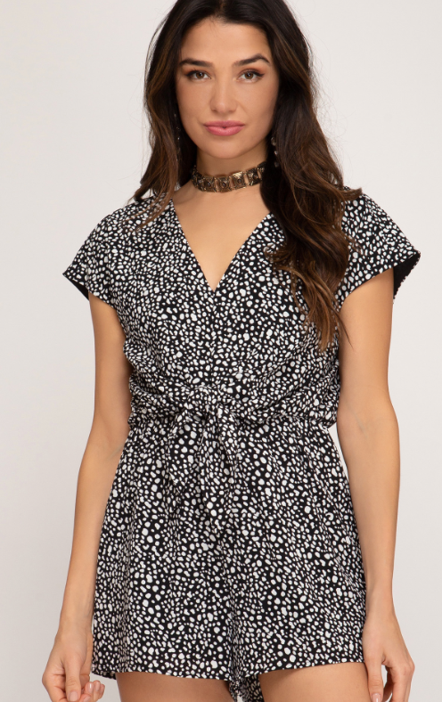 Shades of Black Printed Woven Romper
