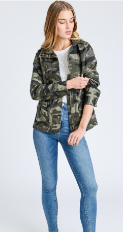 Camo Button Down Jacket