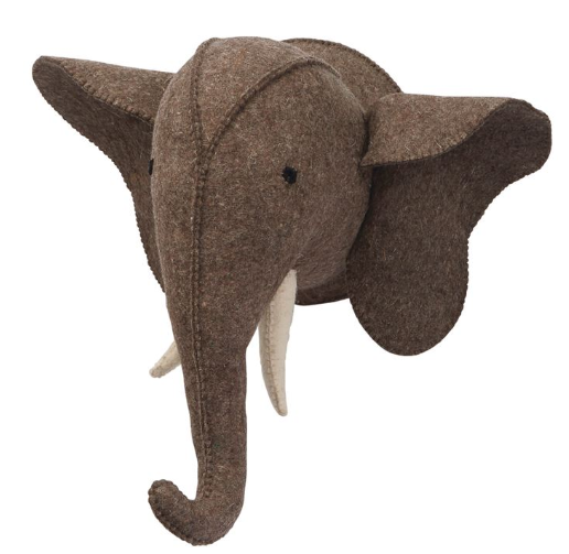 Felt Grey Elephant Wall Mount