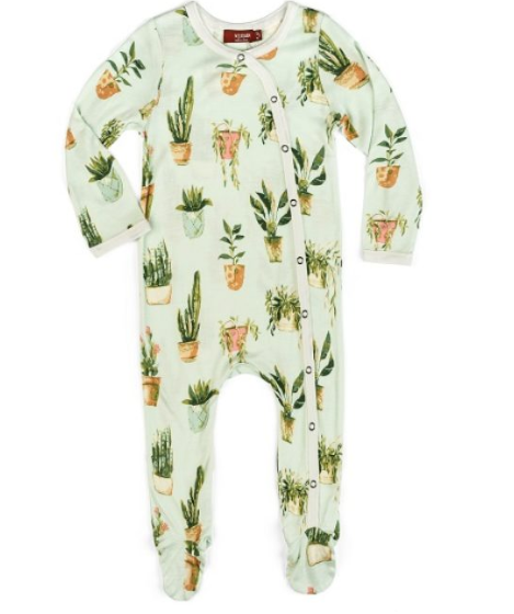 Bamboo Footed Romper- Potted Plant
