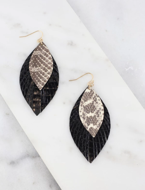 Glenis Double Layer Snake Print Earring