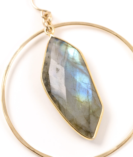 Holli Hammered Hoops Labradorite Palm