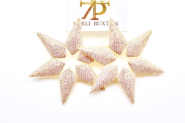 Gold Pave Star Earrings