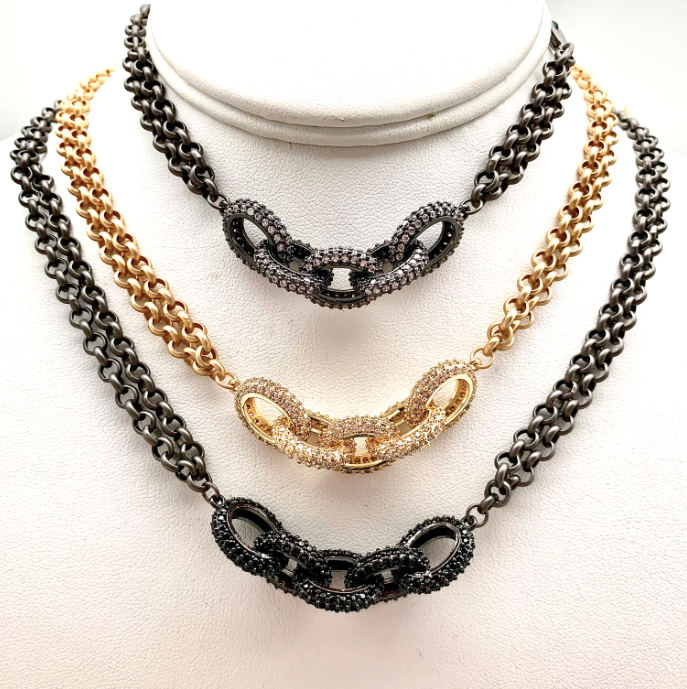 Pave Chain Link Choker Necklace