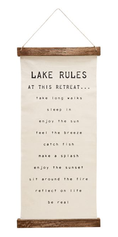 Lake Rules Hanging Canvas