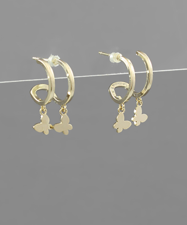 Double Charm Mini Hoops