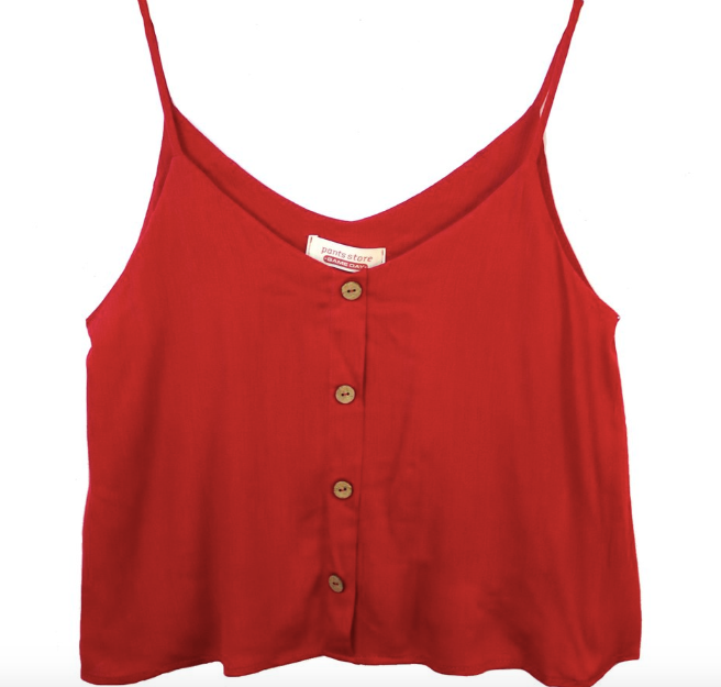 Beth Button Front Red Top