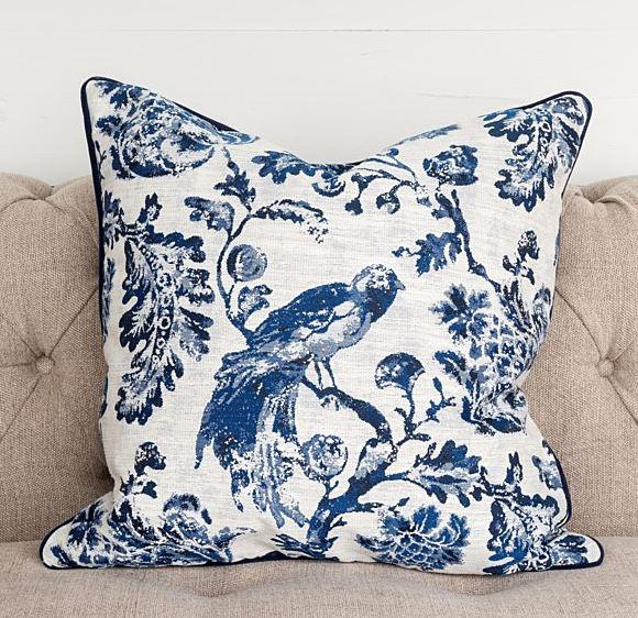 Down Filled Bird Toile Pillow