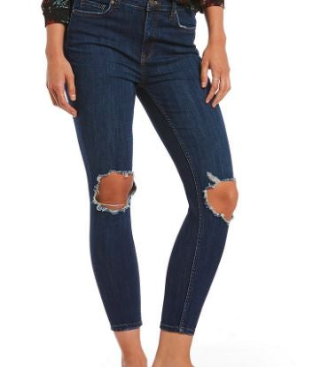 Jean Busted Knee Skinny Denim