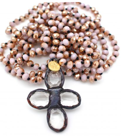 Soldered Cross on Hand Knotted Beads