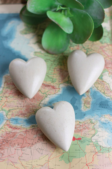 Hand Carved Stone Hearts