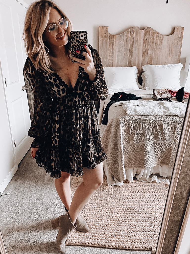 Never Leave Me Leopard Dress