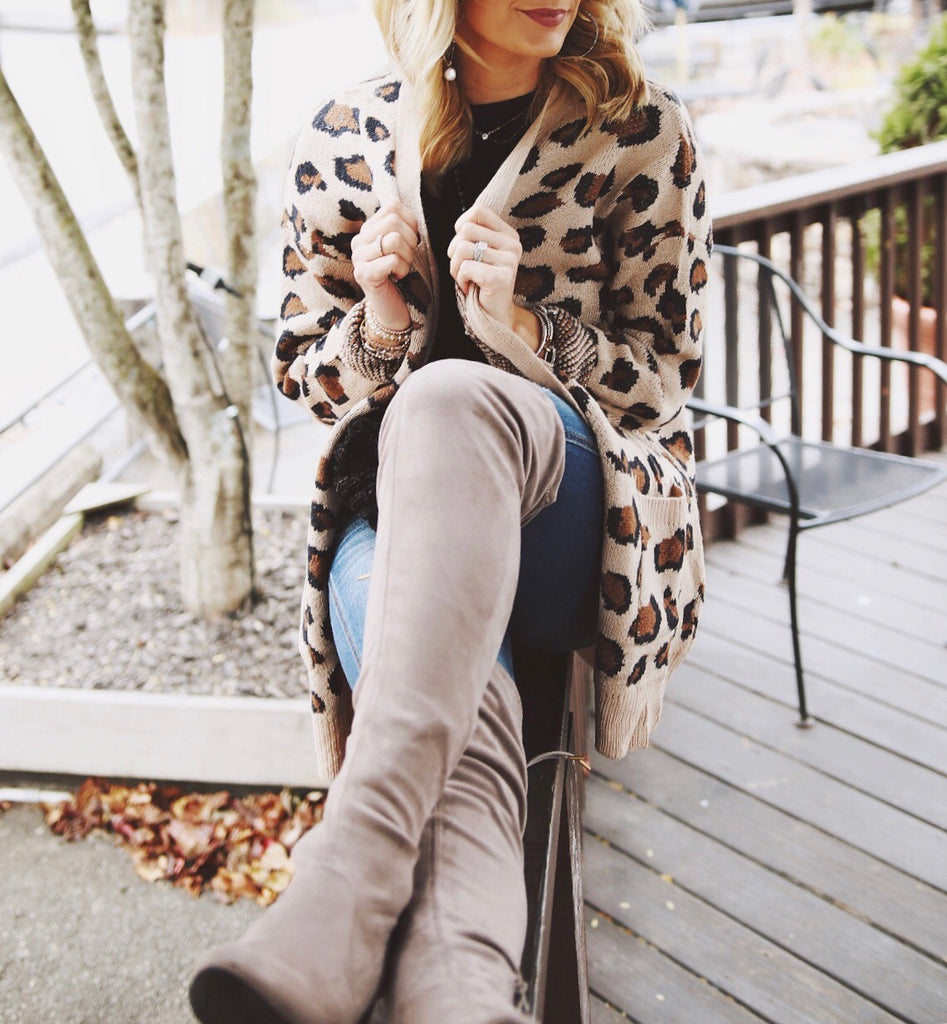 Adeline Leopard Knit Sweater Cardigan