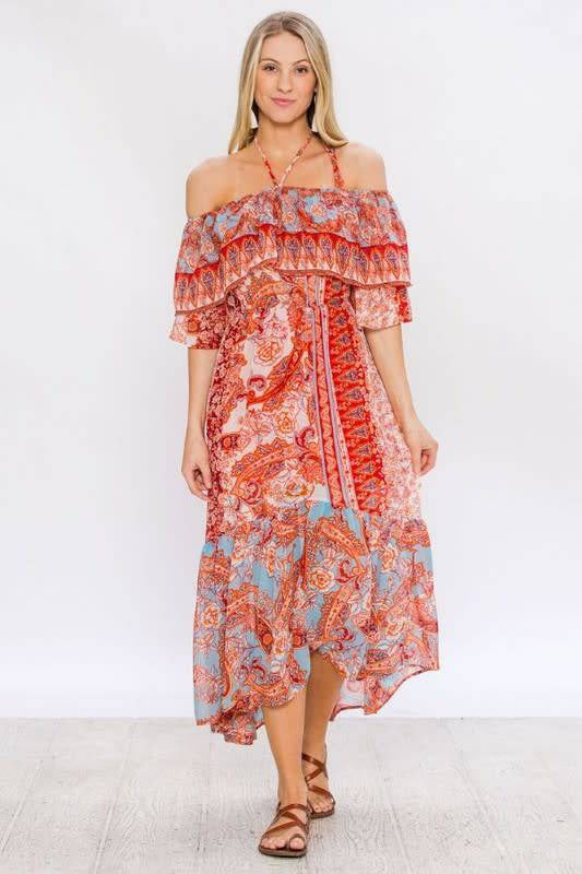 Paisley Halter Maxi Dress