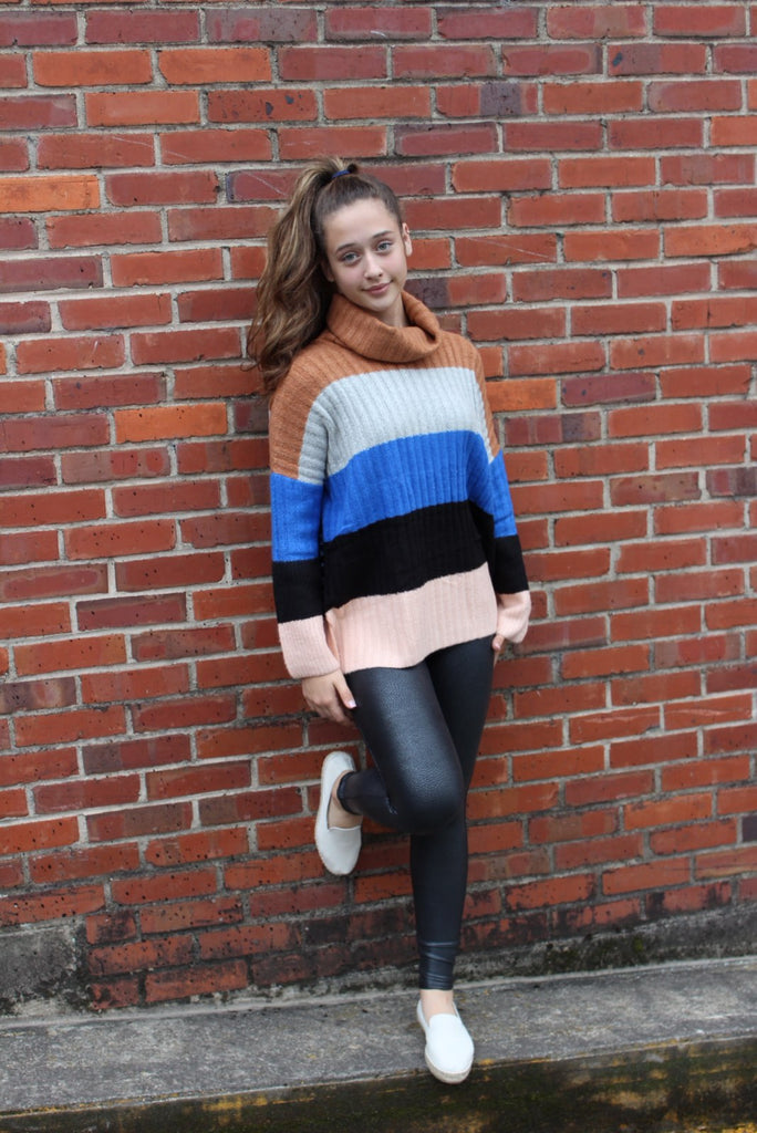 Sierra Camel Multi Stripe Sweater