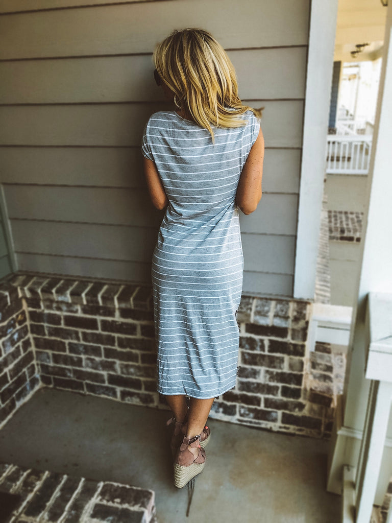 The Stripe Midi Drop Dress