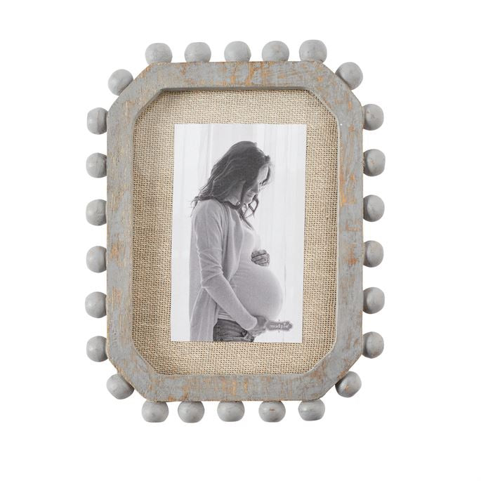 SMALL BEADED WOOD & LINEN PICTURE FRAME