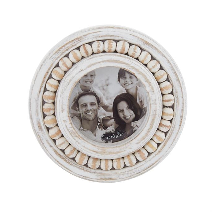 WHITEWASH BEADED SMALL CIRCULAR PICTURE FRAME