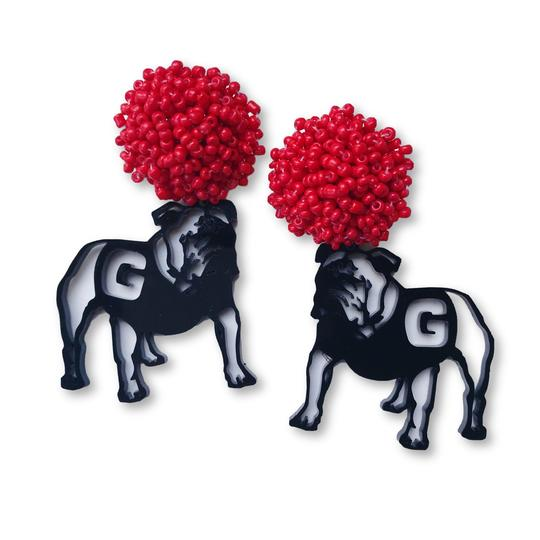 Team RLN Georgia Black Acrylic Bulldog Earrings with Red Beaded Top