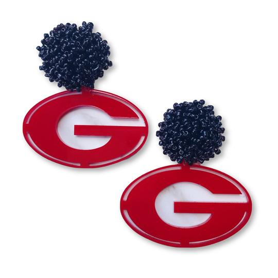 Team RLN Georgia Red Acrylic Power G Earrings with Black Beaded Top