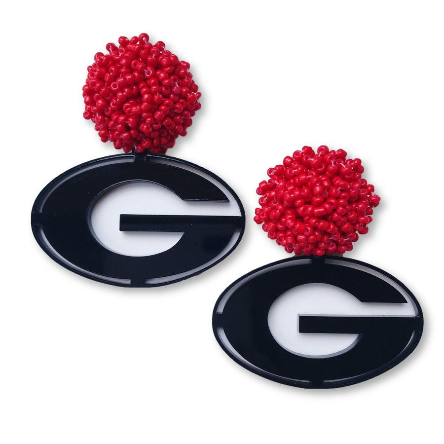Team RLN Georgia Black Acrylic Power G Earrings with Red Beaded Top