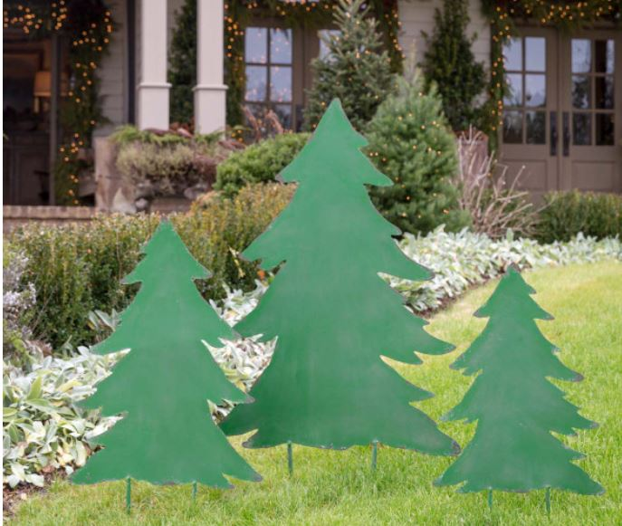 Painted Metal Christmas Trees