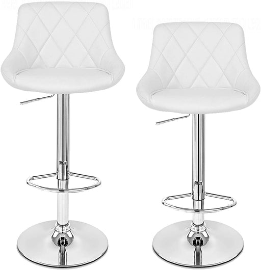 Janice Leatherette Swivel Adjustable Height Bar Stool with Mid-Backrest (White) - Set of 2