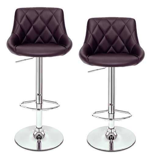 Janice Leatherette Swivel Adjustable Height Bar Stool with Mid-Backrest (Brown) - Set of 2
